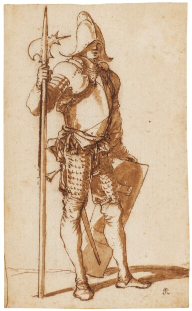 View 1. Thumbnail of Lot 46. SALVATOR ROSA     A STANDING HALBERDIER.