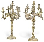 A PAIR OF MASSIVE FRENCH SILVER-GILT SEVEN-LIGHT CANDELABRA, VICTOR BOUDET, PARIS, CIRCA 1900