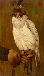 FRENCH SCHOOL, LATE 19TH CENTURY  |  PORTRAIT OF A HOODED GYRFALCON, PERCHED ON A GLOVED HAND