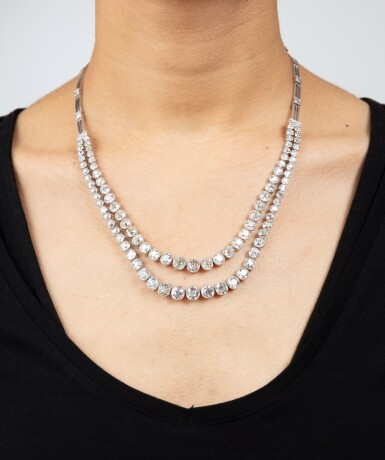 View 4. Thumbnail of Lot 48. Collier diamants | Diamond necklace.