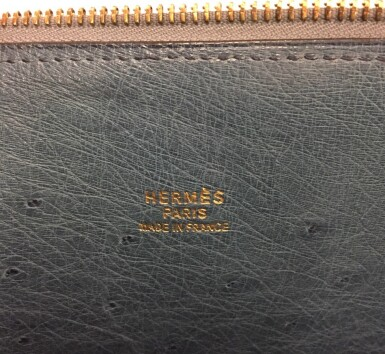 View 7. Thumbnail of Lot 343. Teal Bolide 45cm in Ostrich Leather with Gold Hardware, 1997.