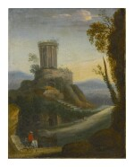 Sold Without Reserve   FOLLOWER OF HERMAN VAN SWANEVELT, 18TH CENTURY   LANDSCAPE WITH HORSEMAN AND CLASSICAL RUINS BEYOND