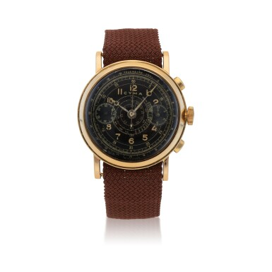 View 1. Thumbnail of Lot 431. YELLOW GOLD CHRONOGRAPH WRISTWATCH WITH TROPICAL DIAL CIRCA 1950.