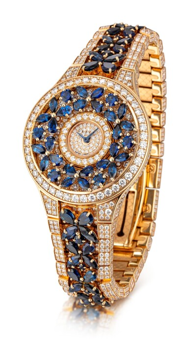 View 2. Thumbnail of Lot 1067. 'Butterfly' Reference BF32PGSDSD, 1 Limited Edition Pink Gold, Blue Sapphire and Diamond-Set Wristwatch | 格拉夫| Butterfly編號BF32PGSDSD 1,限量版粉紅金鑲藍寶石及鑽石腕表,約2010年製.