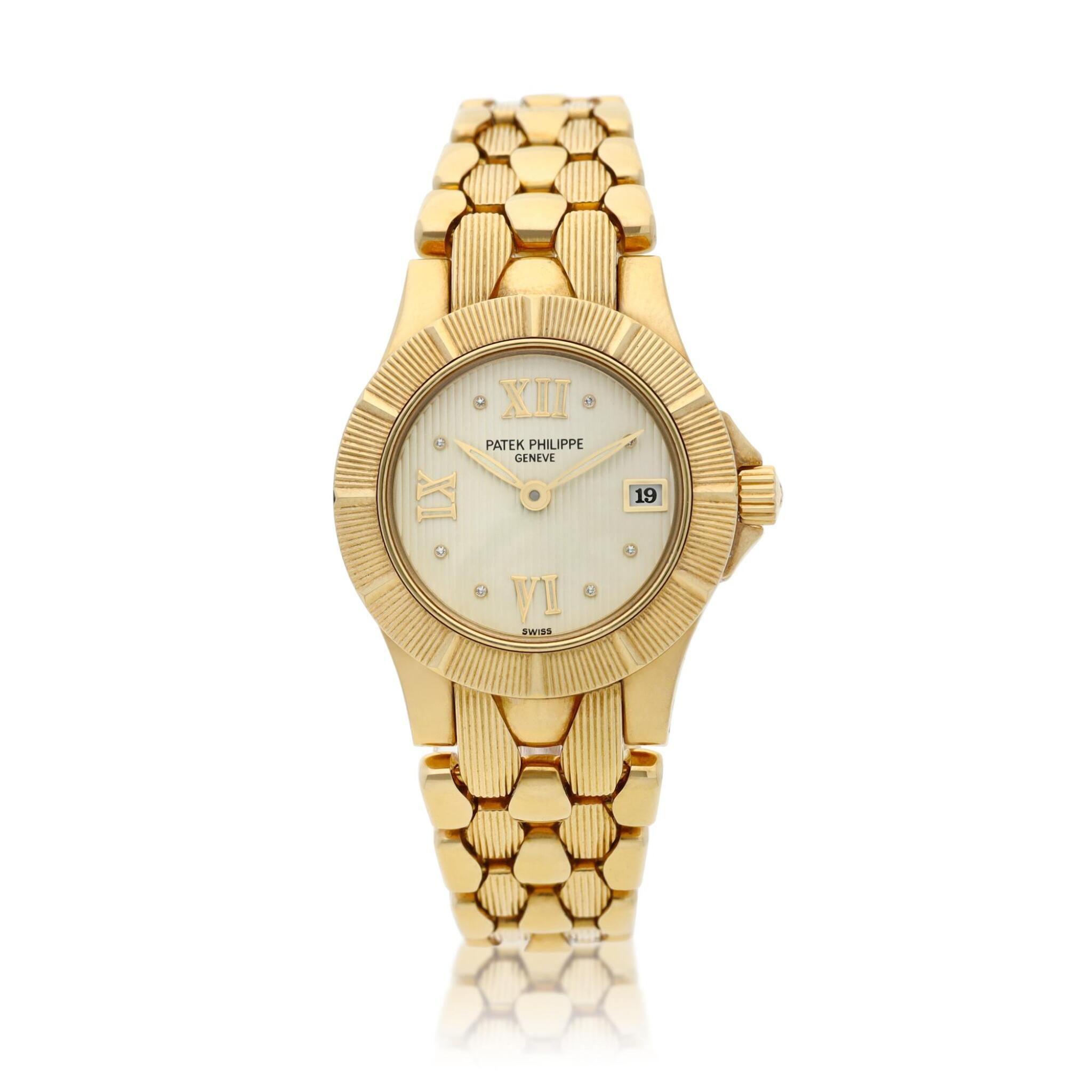 View full screen - View 1 of Lot 6. Reference 4881/1 Neptune  A yellow gold and diamond-set bracelet watch with date, Made in 2000 .
