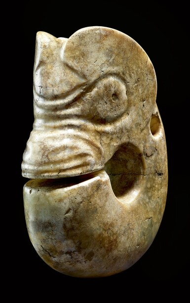 View 2. Thumbnail of Lot 21. A RARE AND LARGE CALCIFIED YELLOW JADE ZHULONG ('PIG DRAGON') NEOLITHIC PERIOD, HONGSHAN CULTURE | 新石器時代紅山文化 黃玉豬龍.