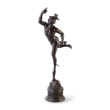 View 1. Thumbnail of Lot 628. A FRENCH (?) BRONZE FIGURE OF MERCURY, AFTER GIAMBOLOGNA   19TH CENTURY.