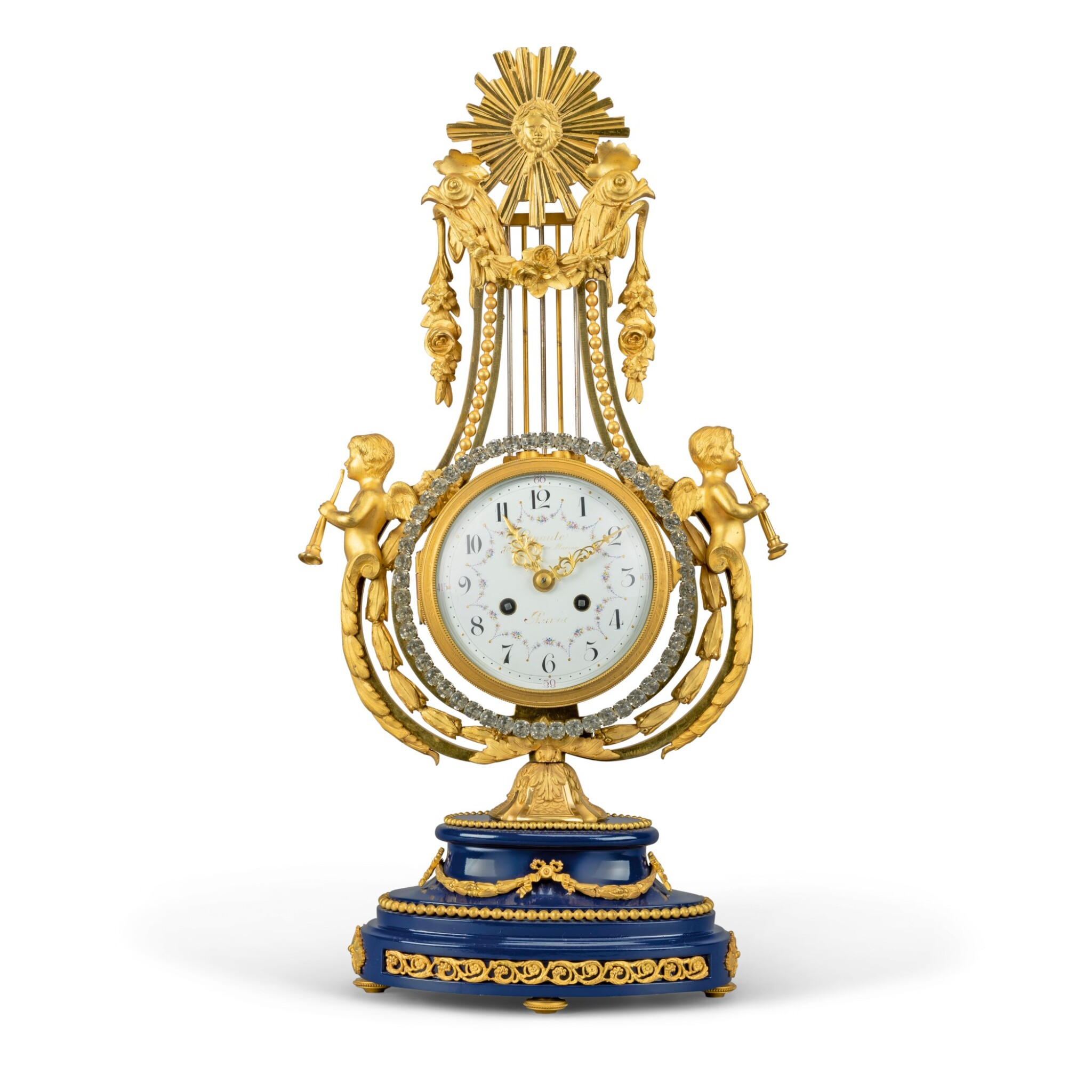 View full screen - View 1 of Lot 45. A LOUIS XVI-STYLE GILT-BRONZE LYRE CLOCK, FRENCH, CIRCA 1880.