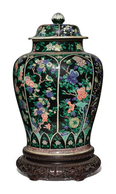 View 5. Thumbnail of Lot 1035. A LARGE FAMILLE-NOIRE 'BIRD AND FLOWER' BALUSTER JAR AND COVER, THE PORCELAIN 18TH CENTURY, THE ENAMELS LATER-ADDED.