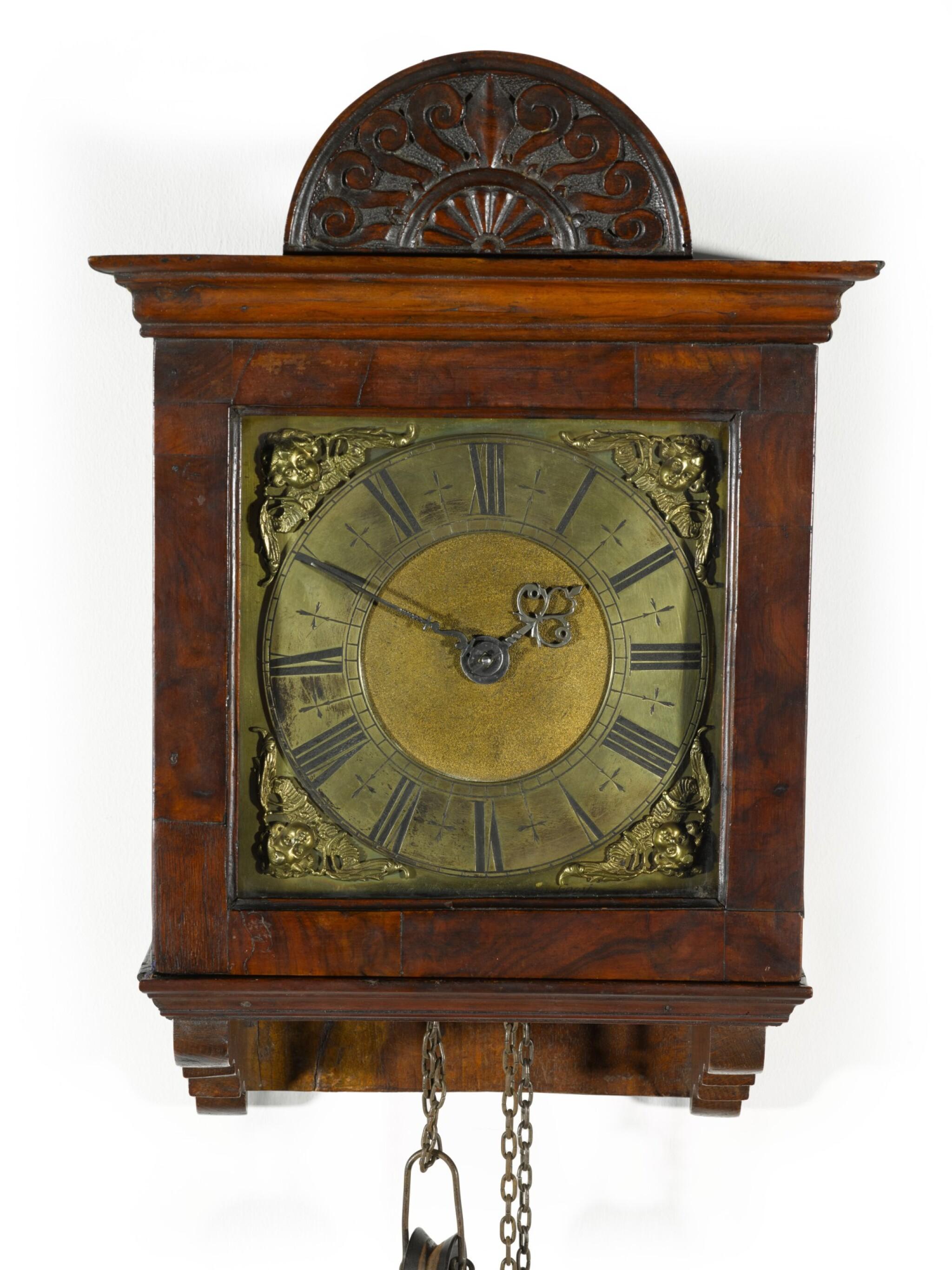 View full screen - View 1 of Lot 60. Thomas Tompion: A small walnut 30-hour wall clock, London, circa 1700.