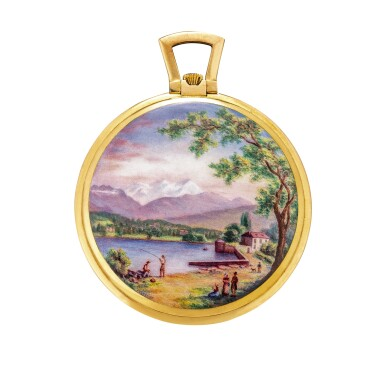 View 1. Thumbnail of Lot 2185. Vacheron Constantin, A unique, highly important and extremely attractive yellow gold open face watch with enamel miniature, painted by Helen May Mercier, Made in 1948   江詩丹頓   獨一無二、非常重要及優雅黃金懷錶,配 Helen May Mercier 繪製的微繪琺瑯,1948 年製.