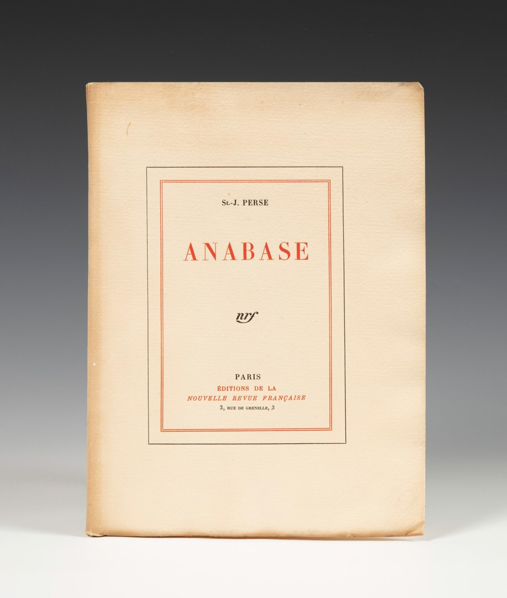 View full screen - View 1 of Lot 176. Anabase. NRF, 1924. Bel exemplaire broché. 1/15 exemplaires de tête sur Whatman.