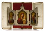 A SILVER-GILT TRIPTYCH ICON, MAKER'S MARK DS (CYRIILIC), MOSCOW, 1899-1908