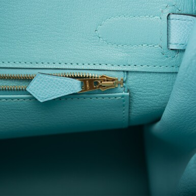 View 9. Thumbnail of Lot 18. Hermès Bleu Atoll Birkin 30cm of Epsom Leather with Gold Hardware .