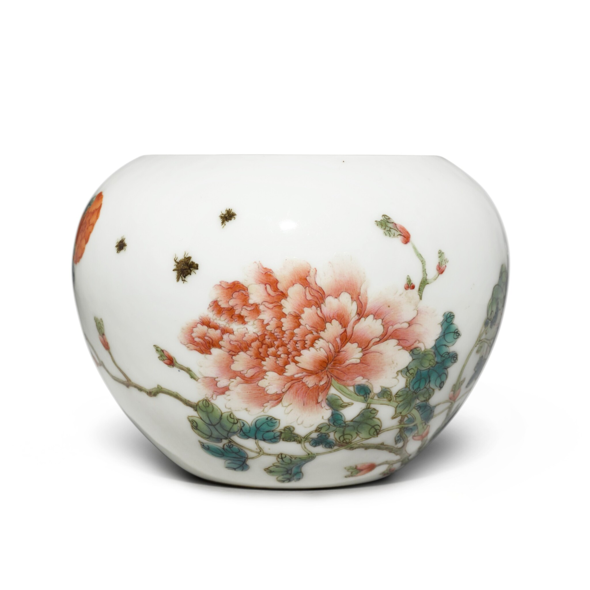 View full screen - View 1 of Lot 204. A famille-rose 'peony' waterpot, Republic period | 民國 粉彩牡丹圖水盂 《洪憲御製》款.