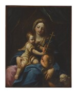 WORKSHOP OF GUIDO RENI   MADONNA AND CHRIST WITH SAINT JOHN THE BAPTIST AS A CHILD