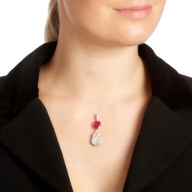 View 4. Thumbnail of Lot 51. Ruby and diamond pendant, circa 1900.