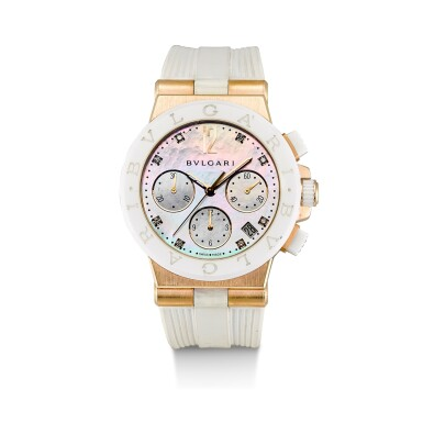 View 1. Thumbnail of Lot 173. BULGARI | CERAMICS DIAGONO, REFERENCE DG P 37 GC CH, A PINK GOLD, CERAMIC AND DIAMOND-SET CHRONOGRAPH WRISTWATCH WITH DATE AND MOTHER-OF-PEARL DIAL, CIRCA 2010.