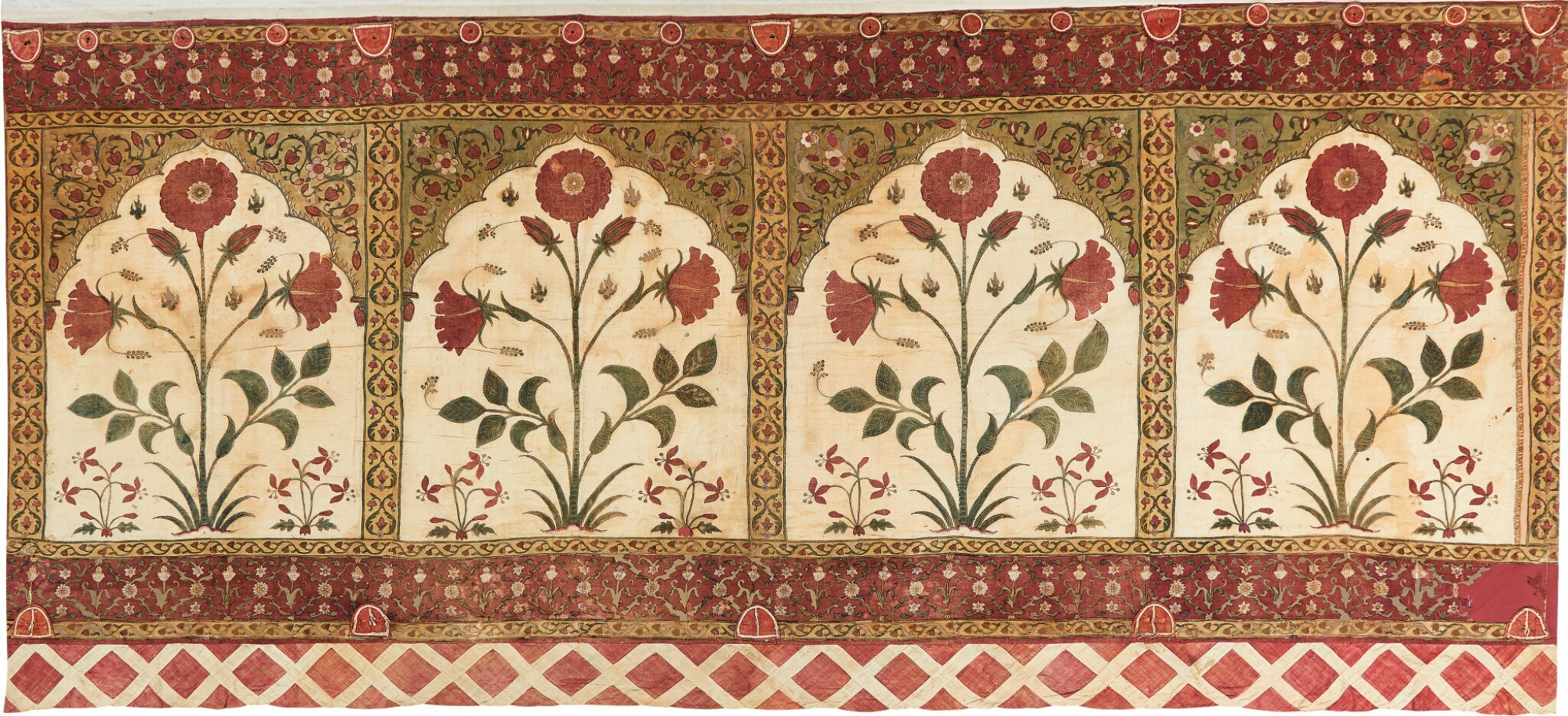 View full screen - View 1 of Lot 143. A TENT (QANAT) PANEL WITH FOLIATE STEMS WITHIN NICHES, NORTH INDIA, 17TH CENTURY.