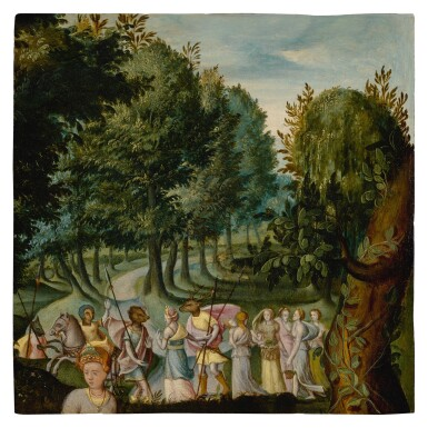 View 1. Thumbnail of Lot 504. SCHOOL OF FONTAINEBLEAU, 16TH CENTURY | AN ALLEGORICAL SCENE, FIGURES WITH ANIMAL HEADS.