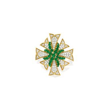 View 1. Thumbnail of Lot 599. EMERALD AND DIAMOND CLIP-BROOCH, VERDURA | 祖母綠配鑽石別針,Verdura.