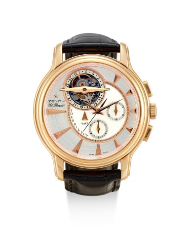 ZENITH | EL PRIMERO, REFERENCE 18.1260.4005/01, A LIMITED EDITION PINK GOLD TOURBILLON CHRONOGRAPH WRISTWATCH WITH DATE, CIRCA 2010