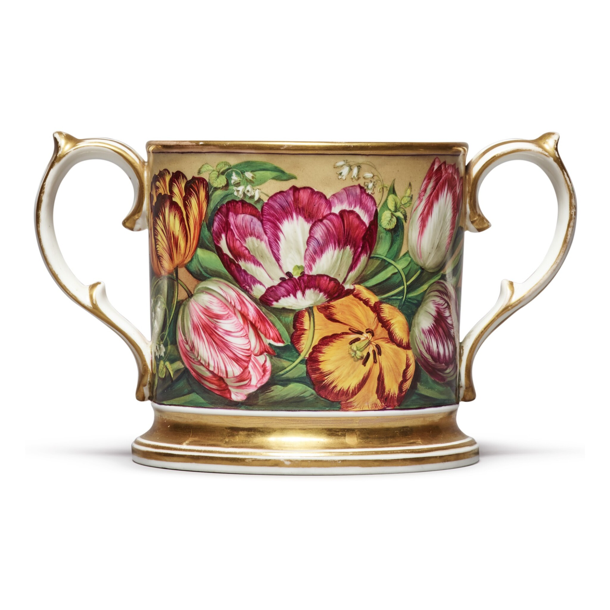 View full screen - View 1 of Lot 145. AN ENGLISH PORCELAIN LOVING CUP, CIRCA 1820.