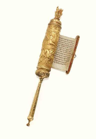 A RARE ITALIAN GOLD ESTHER SCROLL CASE, 18TH CENTURY