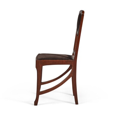 View 4. Thumbnail of Lot 160. A SET OF FOUR ART NOUVEAU MAHOGANY SIDE CHAIRS, CIRCA 1900, ATTRIBUTED TO EDOUARD DIOT, PROBABLY MADE BY MAISON DIOT OF PARIS.