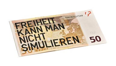 View 1. Thumbnail of Lot 13. RIRKRIT TIRAVANIJA | UNTITLED 2008 (50 EURO FREIHEIT KANN MAN NICHT SIMULIEREN).