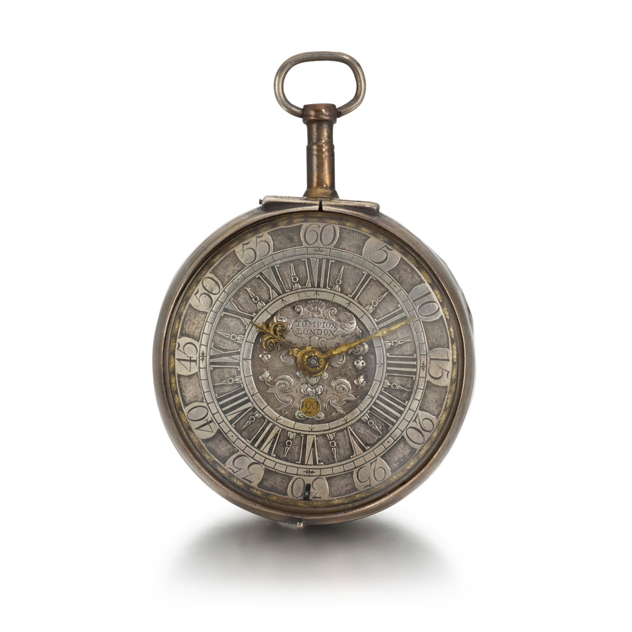 View full screen - View 1 of Lot 270. CONTINENTAL   A SILVER VERGE WATCH WITH DATE, CIRCA 1710.