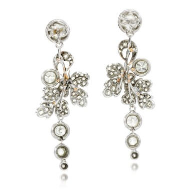 View 3. Thumbnail of Lot 129. Pair of diamond earrings, 19th century and later.