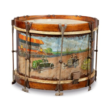 POLYCHROME PAINT-DECORATED SNARE DRUM, CIRCA 1930