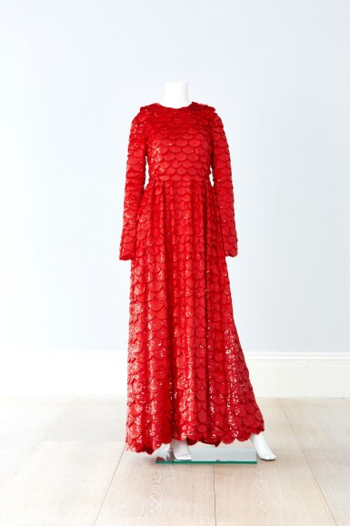 View 3. Thumbnail of Lot 34. Red Tulle Illusion Dress à merlons, Worn by Jane Fonda at the 2020 Screen Actors Guild Awards, Pre-Autumn 2019 Collection.