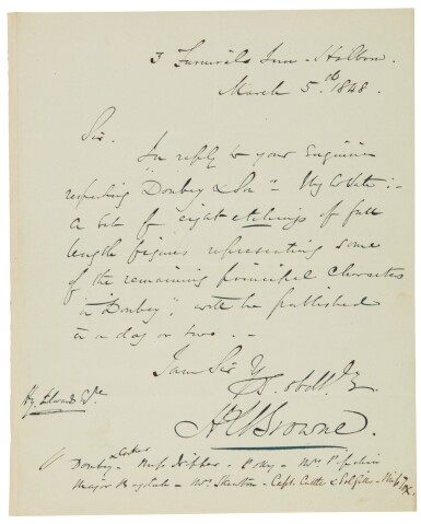 Dickens, Dombey and Son, 1846-1848, first edition in original 19/20 parts, with autograph letter signed by Browne