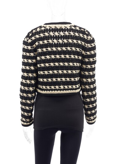 View 2. Thumbnail of Lot 91.  BLACK AND WHITE KNITTED JACKET, CHANEL.