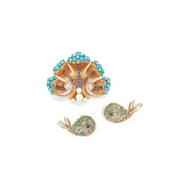 GEM-SET AND DIAMOND CLIP-BROOCH, DAVID WEBB, AND PAIR OF EARCLIPS, CARTIER