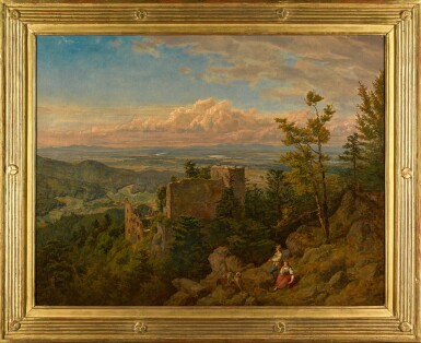 View 2. Thumbnail of Lot 92. The ruins of the castle at Hohenbaden: looking out over the Rhine valley, Baden Baden (Die Burgruine Hohenbaden).