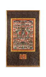 TANGKA REPRÉSENTANT  BOUDDHA AKSHOBHYA TIBET, XIXE SIÈCLE | 西藏 十九世紀 阿閦佛唐卡 設色布本 鏡框 | Thangka depicting Buddha Akshobhya, distemper on cloth, Tibet, 19th century