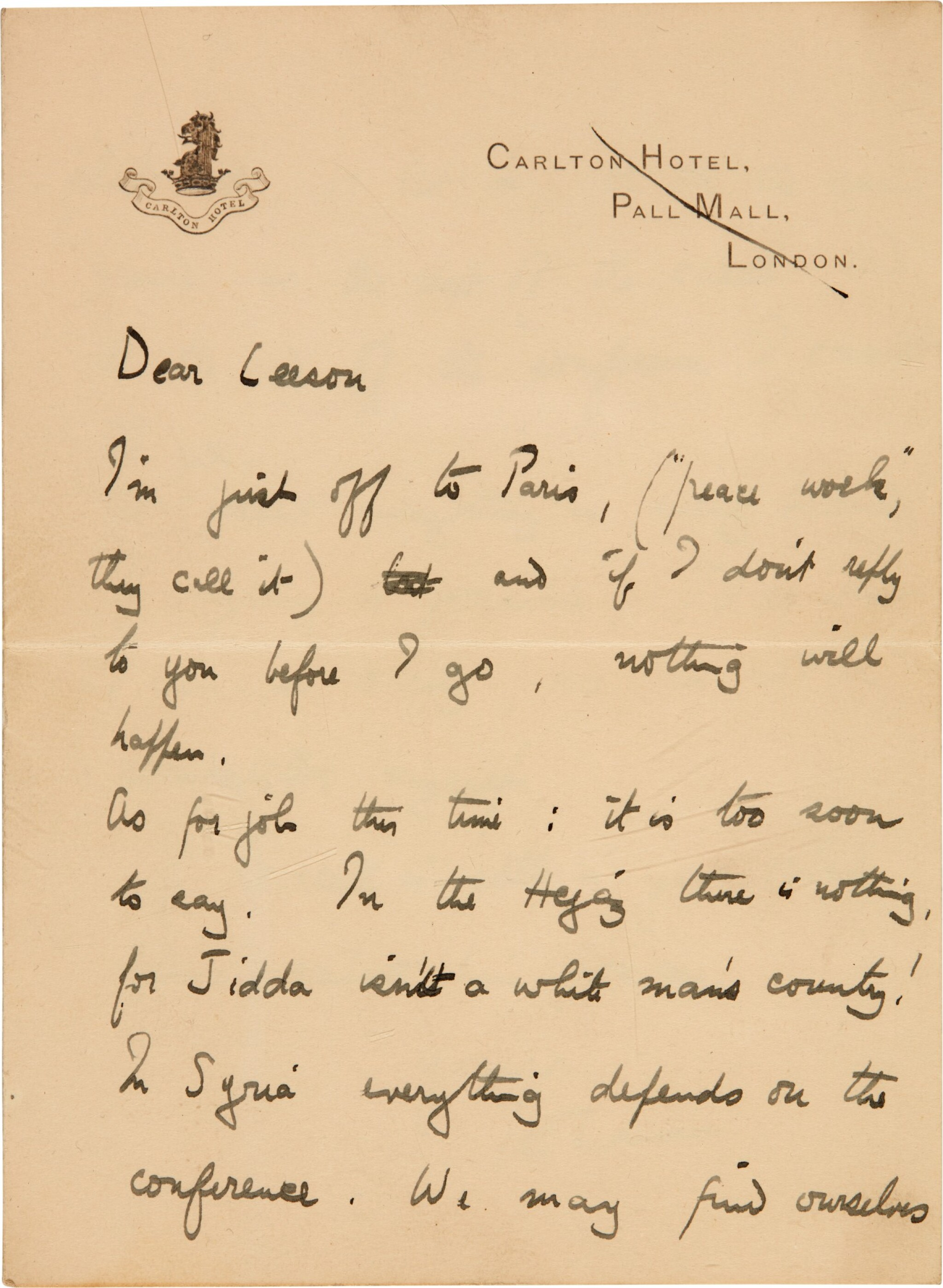 View full screen - View 1 of Lot 94. LAWRENCE | Autograph letter signed, to Leeson, on the Paris Peace Conference, January 1919.