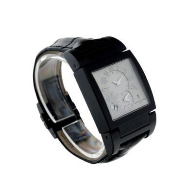View 3. Thumbnail of Lot 223. REFERENCE UNO/DF A BLACK COATED STAINLESS STEEL DUAL TIME RECTANGULAR WRISTWATCH, CIRCA 2010.