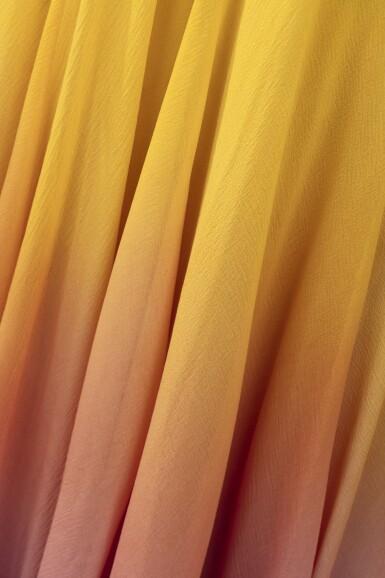 View 4. Thumbnail of Lot 10. Balestra, 1972, Sunbathing dress with pleated collar and matching cape | Robe longue bain de soleil à collerette plissée en mousseline avec cape assortie.