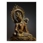 A GILT COPPER FIGURE OF AVALOKITESHVARA,  NEPAL, 9TH/10TH CENTURY