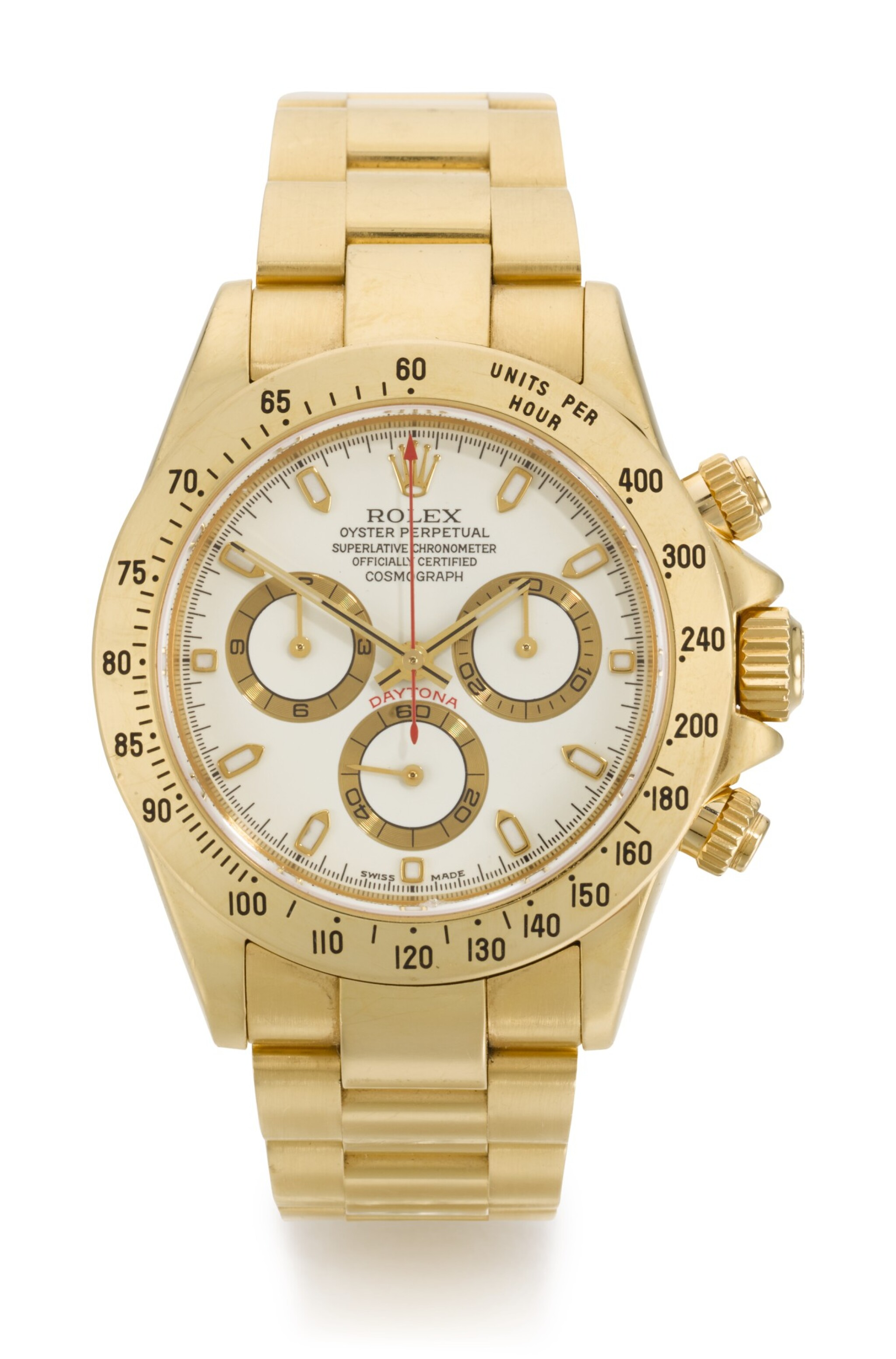 View full screen - View 1 of Lot 9. ROLEX | DAYTONA, REFERENCE 116528, YELLOW GOLD CHRONOGRAPH WRISTWATCH WITH BRACELET, CIRCA 2002.