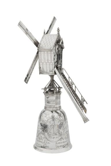 View 5. Thumbnail of Lot 1. A Dutch silver windmill cup, unknown maker's mark, Zierikzee, 1724-1732 | Coupe en forme de moulin à vent en argent, Zierikzee, 1724-1732.