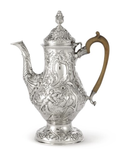 View 2. Thumbnail of Lot 195. A LARGE IRISH SILVER CHINOISERIE COFFEE POT, CHARLES TOWNSEND OR POSSIBLY CARDEN TERRY OF CORK, DUBLIN, 1772.