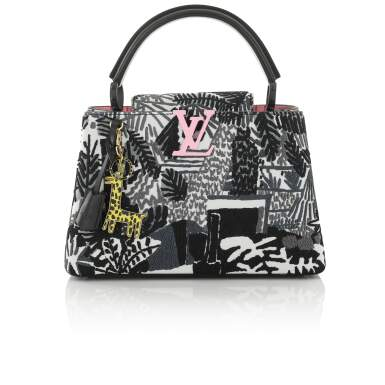 View 1. Thumbnail of Lot 8. Artycapucines Printed Stitched Leather Bag PM in Calfskin Leather and Pink, Black and White Hardware, 2019.