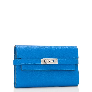 View 2. Thumbnail of Lot 13. Hermès Bleu Hydra Kelly Depliant Medium Wallet of Chevre Leather with Palladium Hardware.