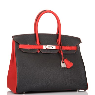 View 2. Thumbnail of Lot 43. HERMÈS   HORSESHOE STAMPED (HSS) BICOLOR BLACK AND VERMILLION BIRKIN 35CM OF TOGO LEATHER WITH BRUSHED PALLADIUM HARDWARE.