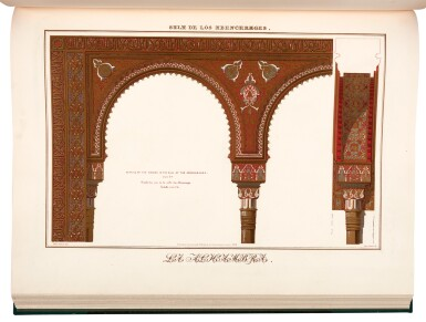 View 2. Thumbnail of Lot 153. Jones and Goury. Plans, elevations, sections, and details of the Alhambra. 1842-1845, 2 volumes, folio, half cloth.